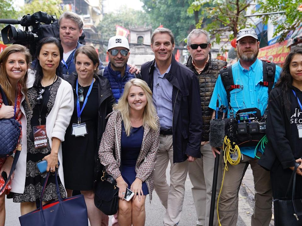 A group shot of Hemmer and Fox News staff in Vietnam in 2019.