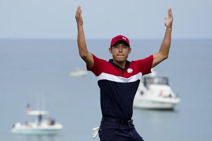 Team USA's Collin Morikawa reacts after winning the 17th hole during a Ryder Cup.