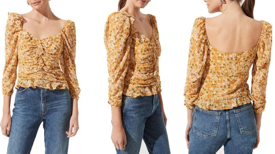ASTR The Label's Ruched Sleeve Blouse - Nordstrom, $33 (originally $55)