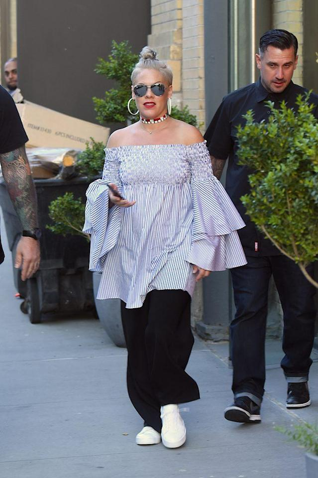Pink was spotted in Manhattan on July 5, 2017 in New York City. (Photo: Getty Images)