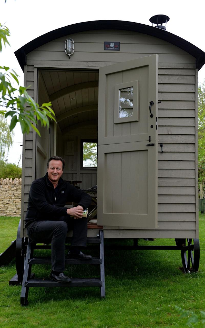 David Cameron with his new luxury cabin - Credit: Graham Flack/Red Sky Shepherds /PA