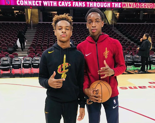 "<a class=""link rapid-noclick-resp"" href=""/nba/players/3704/"" data-ylk=""slk:LeBron James"">LeBron James</a> Jr. (L) and Zaire Wade take in a <a class=""link rapid-noclick-resp"" href=""/nba/teams/cle/"" data-ylk=""slk:Cleveland Cavaliers"">Cleveland Cavaliers</a> practice together. (Instagram)"