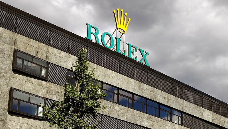 The logo of Swiss watch manufacturer Rolex is seen at a plant in Biel