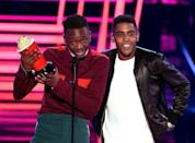 <p>The two actors won the award for their kiss in the Oscar-winning movie, Moonlight.</p>
