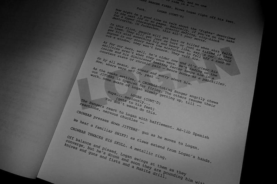 """<p>Page two of the 'Logan' screenplay, tweeted out by Mangold, describes an aging, depressed Wolverine: """"He's older now and it's clear his abilities aren't what they once were. He's fading on the inside and his diminished healing factor keeps him in a constant state of chronic pain — hence booze as a painkiller."""" (Photo: wponx/Instagram) </p>"""