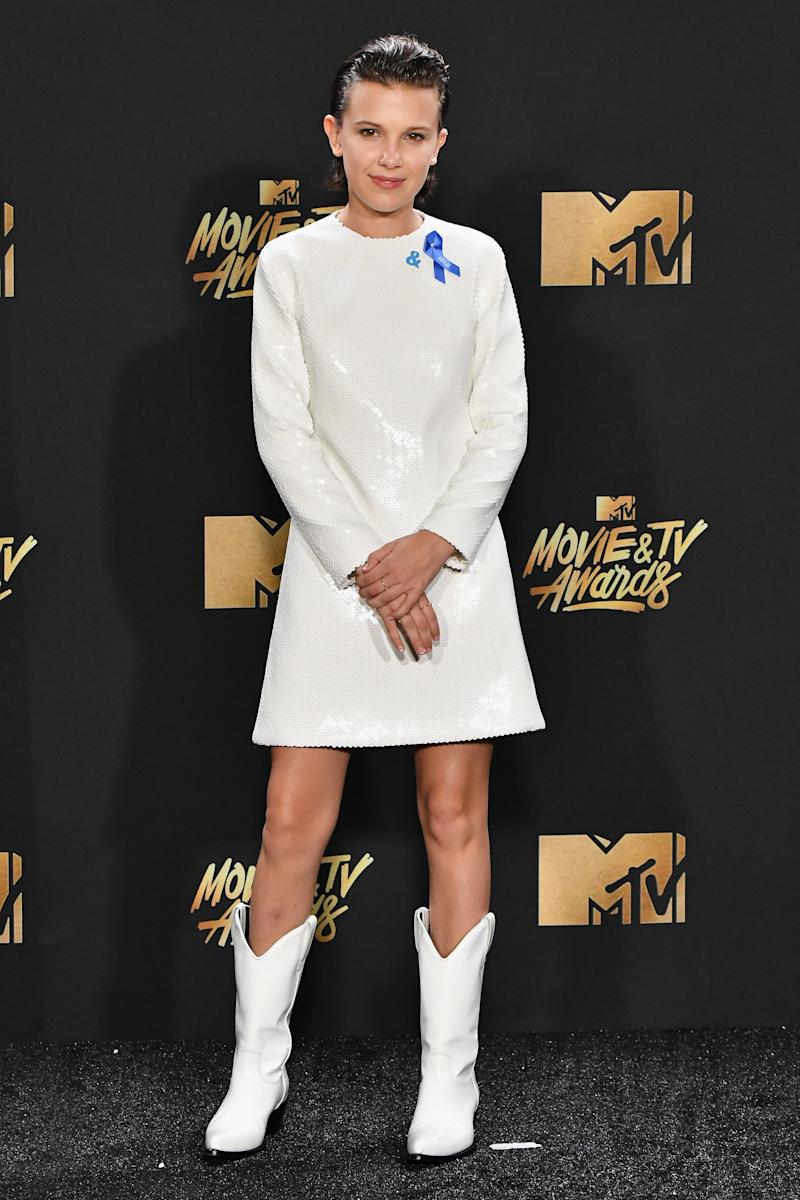 Millie Bobby Brown poses in the press room at the 2017 MTV Movie and TV Awards at The Shrine Auditorium on May 7, 2017 in Los Angeles, California.