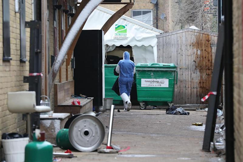 The scene behind Blake's nightclub in Gravesend after a car drove down the alleyway and crashed into a marquee injuring a number of people: PA