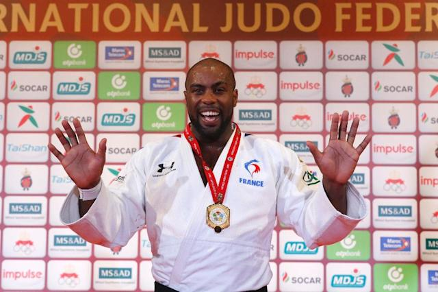 France's Teddy Riner celebrates after defeating Toma Nikiforov during the Judo World Championships Open in Marrakech on November 11, 2017 (AFP Photo/JACK GUEZ)