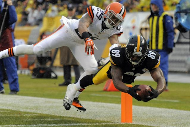 Pittsburgh Steelers wide receiver Emmanuel Sanders (88) dives for the end zone and a touchdown past Cleveland Browns cornerback Leon McFadden (29) after catching a pass in the first quarter of an NFL football game on Sunday, Dec. 29, 2013, in Pittsburgh. (AP Photo/Don Wright)