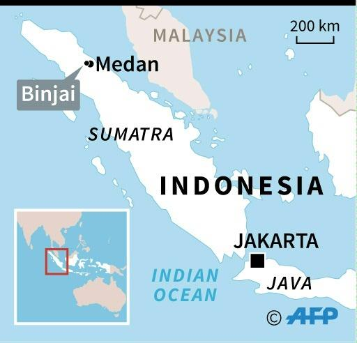 Map of Indonesia locating fire in lighter factory in Binjai