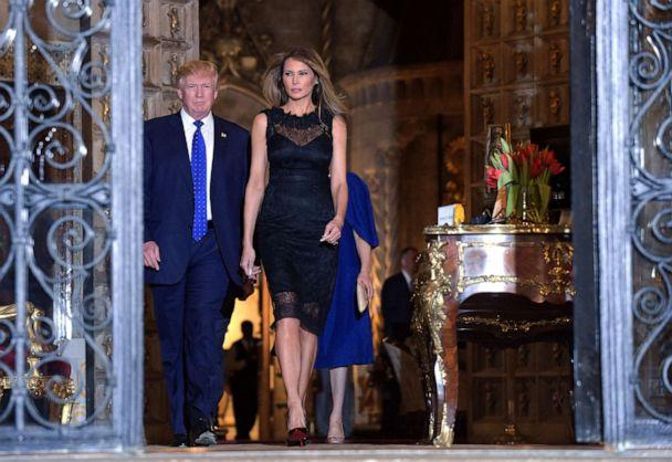 PHOTO: President Donald Trump and first lady Melania Trump arrive for a dinner at Mar-a-Lago in Palm Beach, Fla., Feb. 11, 2017. (Susan Walsh/AP, FILE)