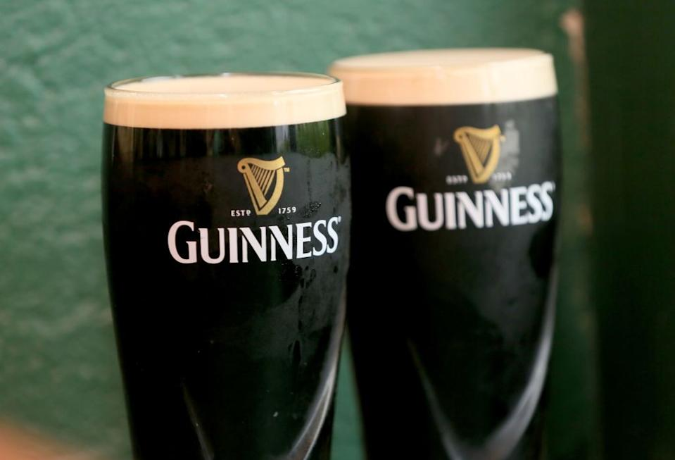 Pints of Guinness are photographed at the Gap of the North pub in the border village of Jonesborough in south Armagh, northern Ireland.