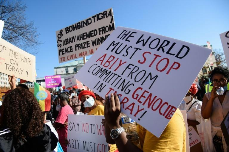 Ethiopians in Washington protest at their government's military actions in Tigray