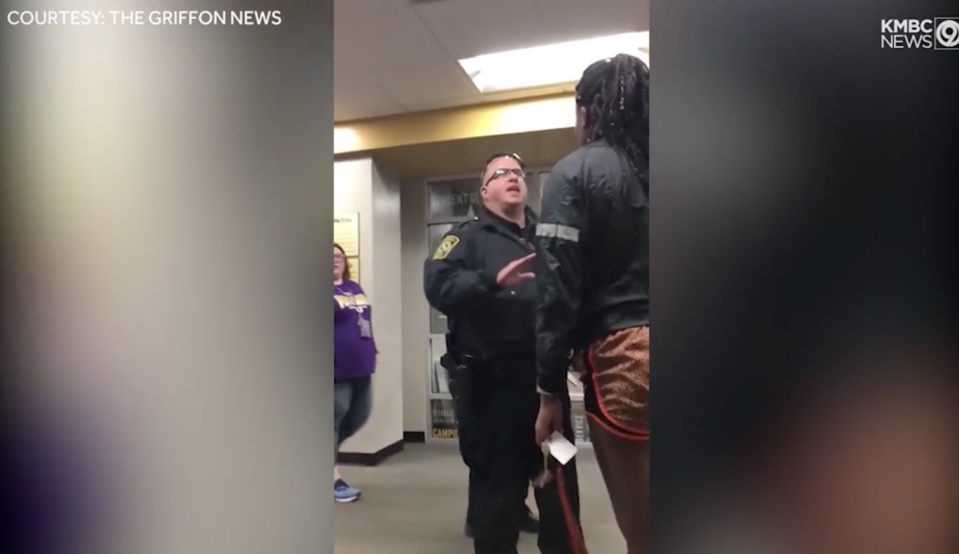 A black student at Missouri Western State University confronted a teen wearing a MAGA hat in an emotional video. (Screenshot: The Griffon News/KMBC 9 News)