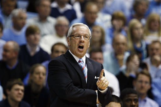 North Carolina coach Roy Williams argues with an official following a technical foul during the second half of an NCAA college basketball game against Georgia Tech in Chapel Hill, N.C., Sunday, Jan. 29, 2012. North Carolina won 93-81. (AP Photo/Gerry Broome)