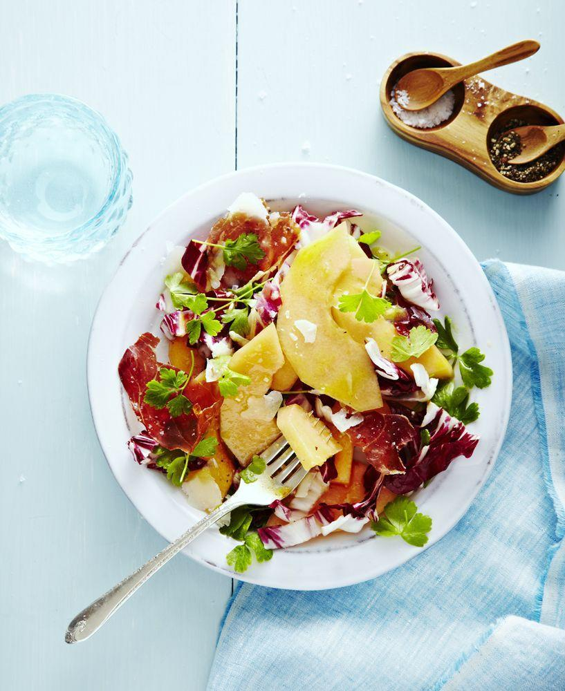 """<p>Whip up this fancy fruit salad for your next BBQ, where bitter meets sweet in each and every perfectly balanced bite. </p><p><em><a href=""""https://www.goodhousekeeping.com/food-recipes/a33640/radicchio-melon-salad/"""" rel=""""nofollow noopener"""" target=""""_blank"""" data-ylk=""""slk:Get the recipe for Radicchio Melon Salad »"""" class=""""link rapid-noclick-resp"""">Get the recipe for Radicchio Melon Salad »</a></em></p>"""