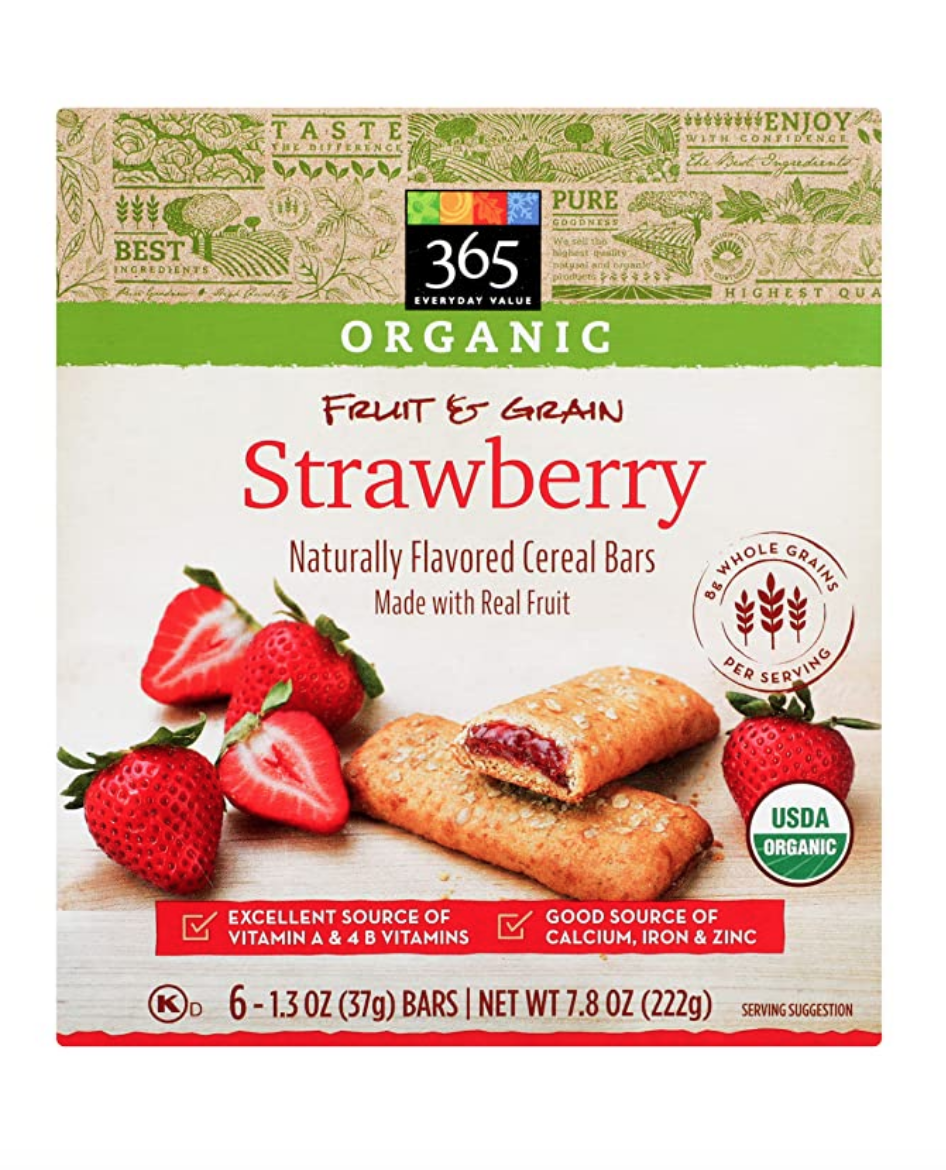 """<p><a class=""""link rapid-noclick-resp"""" href=""""https://www.amazon.com/365-Everyday-Value-Organic-Strawberry/dp/B07V262C65/ref=sr_1_2_0g_wf?almBrandId=VUZHIFdob2xlIEZvb2Rz&dchild=1&fpw=alm&keywords=365+Everyday+Value%2C+Organic+Cereal+Bar%2C+Strawberry&qid=1594335657&s=grocery&sr=1-2&tag=syn-yahoo-20&ascsubtag=%5Bartid%7C1782.g.22559891%5Bsrc%7Cyahoo-us"""" rel=""""nofollow noopener"""" target=""""_blank"""" data-ylk=""""slk:BUY NOW"""">BUY NOW</a></p><p>This on-the-go breakfast is only made better when you realize it's made with whole grains.</p>"""