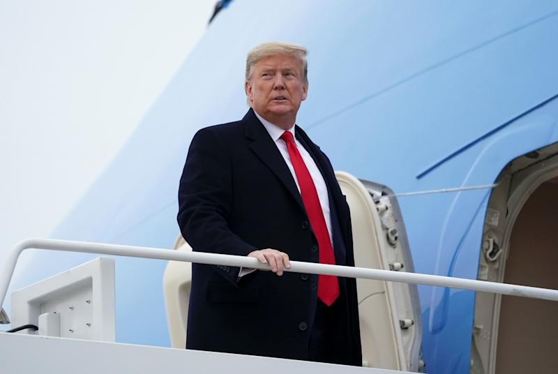 Trump departs Joint Base Andrews in Maryland