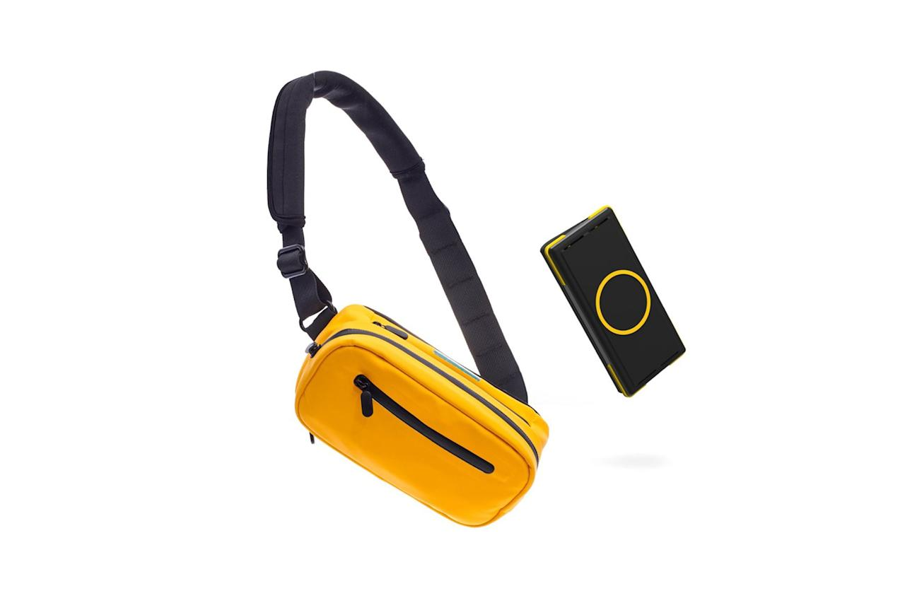 "$130, Ampere. <a href=""https://amperetech.co/products/side-pocket-wireless-charging-fanny-pack"">Get it now!</a>"