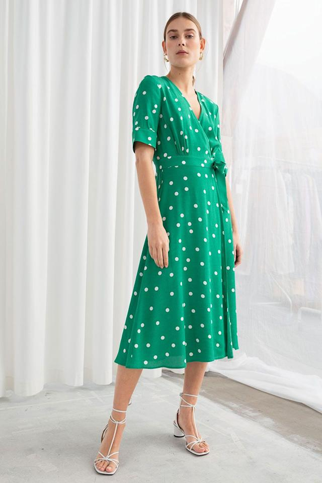"<p>Polka dot midi wrap dress, £69, & Other Stories</p><p><a rel=""nofollow"" href=""https://www.stories.com/en_gbp/clothing/dresses/product.midi-wrap-dress-green-polka-dot.0493460010.html"">BUY NOW</a></p>"