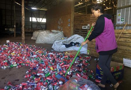 An employee sweeps cans of sodas in a recyclable waste processing plant at Easter Island, Chile February 14, 2019. REUTERS/Marion Giraldo/Files