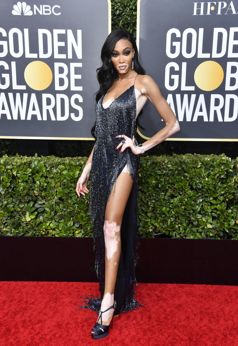 Winnie Harlow in a cut out dress at the Golden Globes 2020