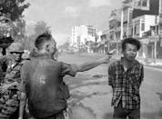<p>1968. AP Caption: South Vietnamese General Nguyen Ngoc Loan, chief of the National Police, fires his pistol into the head of suspected Viet Cong officer Nguyen Van Lem (also known as Bay Lop) on a Saigon street, Feb. 1, 1968, early in the Tet Offensive.</p>