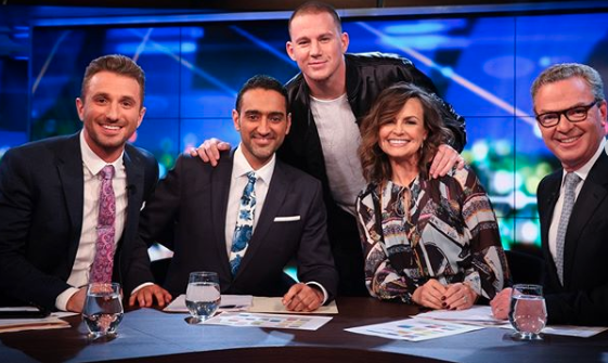 Tommy Little, Waleed Aly, Channing Tatum, Lisa Wilkinson and Christopher Pyne on The Project
