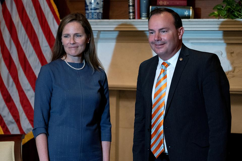 Amy Coney Barrett and Mike Lee