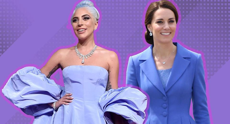 Lady Gaga and Kate Middleton are spearheading the cornflower blue trend for 2019. (Photos: Getty Images; photo illustration: Yahoo Lifestyle)