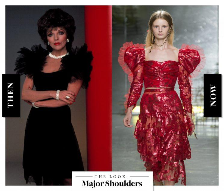 Major Shoulders as seen on Joan Collins in the '80s, and at Saint Laurent today. (Photo: Getty Images)