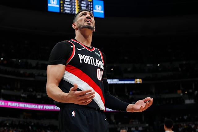 Portland Trail Blazers center Enes Kanter reacted on Twitter to a fan's comment about his home country. (AP Photo/David Zalubowski)