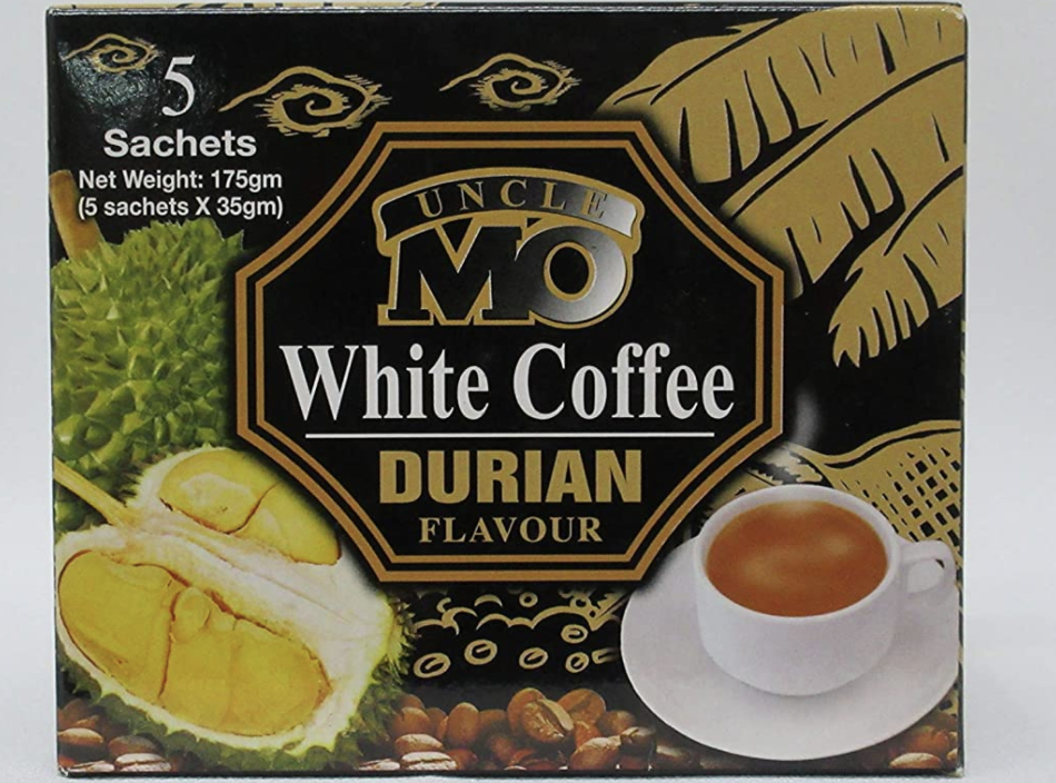 Uncle Mo 5-in-1 durian white coffee, 175g, S$3. PHOTO: Amazon
