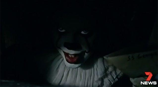 The clown craze has been inspired by the Stephen King reboot of IT. Source: 7 News