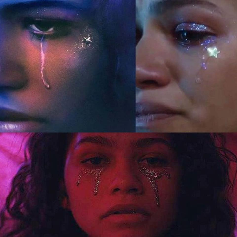 """<p>Because Rue (played by <a href=""""http://www.glamour.com/about/zendaya?mbid=synd_yahoo_rss"""">Zendaya</a>) is in a perpetual state of anguish, Davy wanted her <em>Euphoria</em> makeup to feel melancholy even if it was colorful. In the end it all came down to placement. """"I tried to keep it weighted mostly under her eyes, which is where tears would fall,"""" says Davy. As for the seminal star sticker, """"On a whim I placed a small star on her cheekbone in the first episode, and it became a theme that I circled back to for her look in the final episode. I didn't realize at the time, but the Labrinth song that plays during Rue's final scene in that episode has the lyrics, 'I'll do 25 to life, if it makes me a king—a star in your eyes.'""""</p> <p>In order to make the glitter tears last all day or night, Davy recommends one of her all-time favorite glitter products, <a href=""""https://www.amazon.com/Revlon-PhotoReady-Line-Topaz-Twinkle/dp/B00S8NIYQS"""" rel=""""nofollow"""">Revlon's Photo Ready Eye Art</a>. Davy swears by it because """"the glitter goes on like liquid eyeliner with a built-in thick brush. Once it dries, it doesn't move."""" And when it comes to application, she recommends not stressing too much: """"Rue's looks are not about perfection. They are pure moody expression.""""</p> <p>To add depth and contrast Davy says to line your lower waterline with black liner and take the liner a little outside your lash line, then finish with loads of mascara.</p>"""