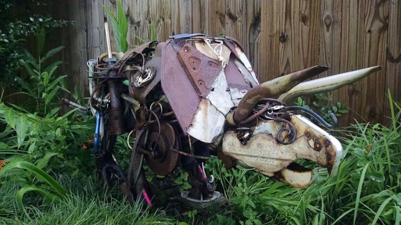 Man Builds Incredible Triceratops Lawn Art out of Daughter's First Bicycle