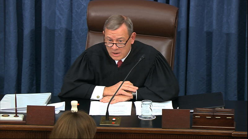 In this image from video, presiding officer Supreme Court Chief Justice John Roberts speaks during the impeachment trial against President Donald Trump at the U.S. Capitol in Washington, Thursday, Jan. 16, 2020. (Senate Television via AP)