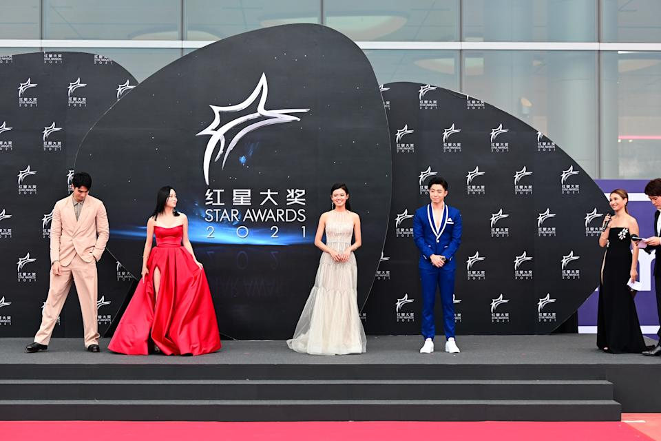 Joel Choo, Zong Zi Jie at Star Awards held at Changi Airport on 18 April 2021. (Photo: Mediacorp)