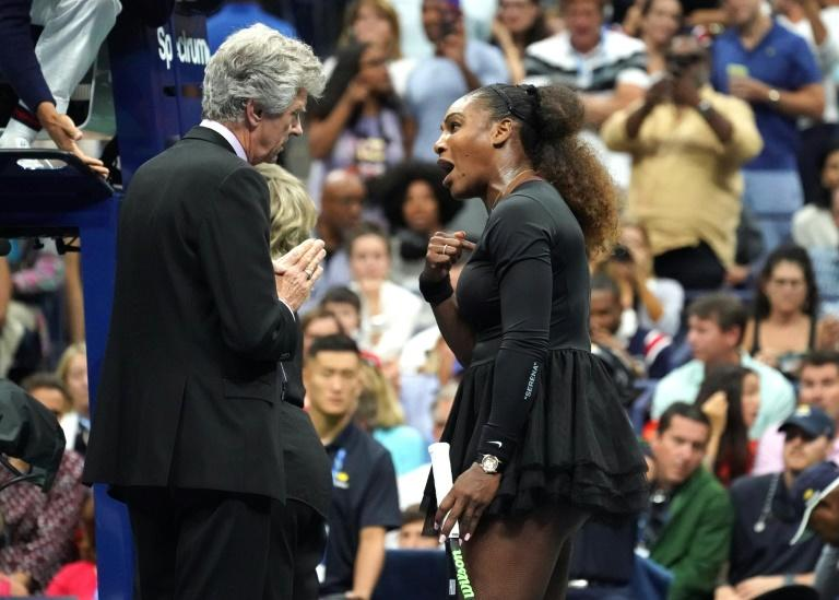 "Serena Williams, pictured September 11, 2018, said to the US Open tournament referee, ""Because I'm a woman, you are going to take this away from me?"" but stides show male tennis players are more likely to be punished"