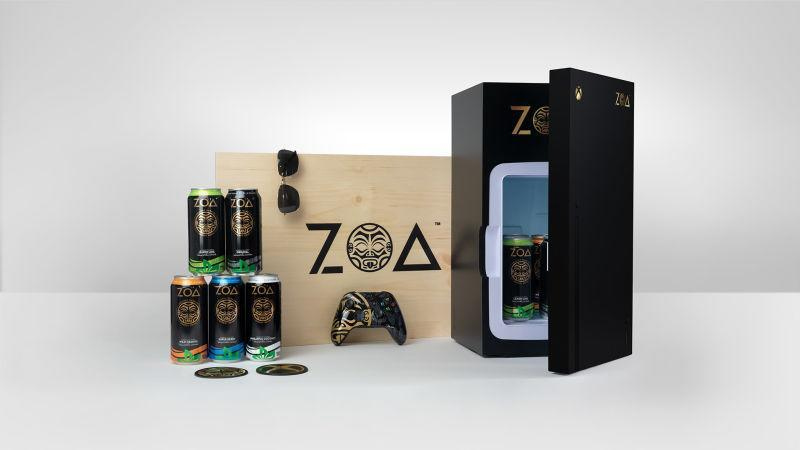 ZOA mini fridge and cans of energy drinks
