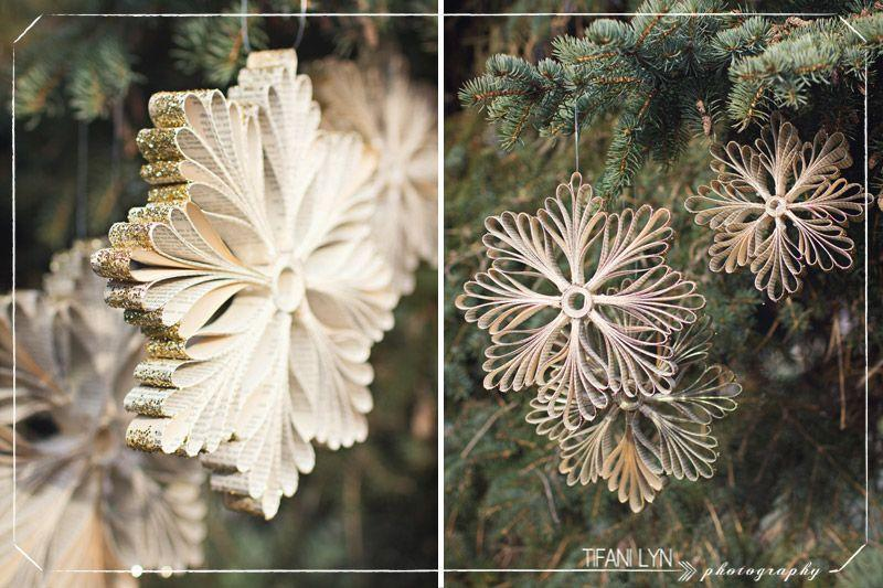 """<p>If you love to read as much as you love the holidays, you'll adore these snowflake ornaments made out of repurposed books. However, don't be fooled by how intricate they look—they're actually super simple to make!</p><p><strong>Get the tutorial at <a href=""""http://tifanilyn.com/2012/11/let-it-snow-diy-snowflake-tutorial-make-something-lovely/"""" rel=""""nofollow noopener"""" target=""""_blank"""" data-ylk=""""slk:Tifani Lyn"""" class=""""link rapid-noclick-resp"""">Tifani Lyn</a>.</strong></p><p><a class=""""link rapid-noclick-resp"""" href=""""https://www.amazon.com/Supplies-Resistant-Polyester-Eyeshadow-Assorted/dp/B076J9RD8P/ref=sr_1_1?tag=syn-yahoo-20&ascsubtag=%5Bartid%7C10050.g.1070%5Bsrc%7Cyahoo-us"""" rel=""""nofollow noopener"""" target=""""_blank"""" data-ylk=""""slk:SHOP GLITTER"""">SHOP GLITTER</a></p>"""