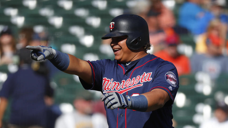 Minnesota Twins' Willians Astudillo celebrates his solo home run in the eighth inning of a baseball game against the Detroit Tigers in Detroit, Thursday, Sept. 26, 2019. (AP Photo/Paul Sancya)
