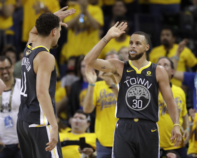 Stephen Curry and Klay Thompson combined for 53 points in Game 2. (AP Photo/Marcio Jose Sanchez)