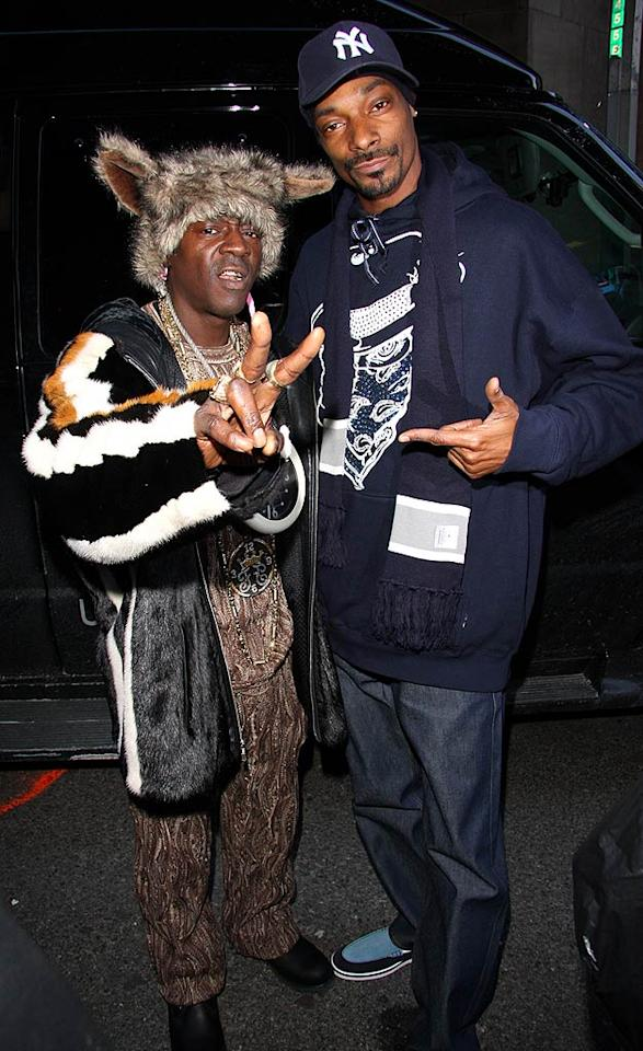 "Flavor Flav and Snoop Dogg drop by MTV's Time Square studios in order to promote their respective projects. Flav is currently starring in the third season of his hit reality show on VH1, while Snoop is about to release his ninth studio album in March. Richie Buxo/<a href=""http://www.splashnewsonline.com"" target=""new"">Splash News</a> - February 25, 2008"
