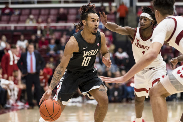 Washington State guard Isaac Bonton (10) dribbles against Stanford during the second half of an NCAA college basketball game Saturday, Jan. 11, 2020, in Stanford, Calif. (AP Photo/John Hefti)
