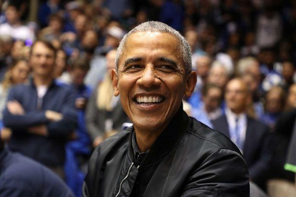 PHOTO: Former President of the United States, Barack Obama, watches on during the game between the North Carolina Tar Heels and Duke Blue Devils at Cameron Indoor Stadium on February 20, 2019 in Durham, North Carolina. (Streeter Lecka/Getty Images)