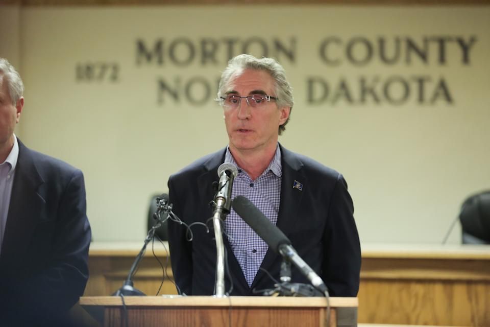 CANNON BALL, ND - FEBRUARY 22:  North Dakota Governor Doug Burgum speaks during a press conference announcing plans for the clean up of the Oceti Sakowin protest camp on February 22, 2017 in Mandan, North Dakota. Protesters and campers against the DAPL pipeline, at times numbering in the thousands, are now down to under a hundred. (Photo by Stephen Yang/Getty Images)