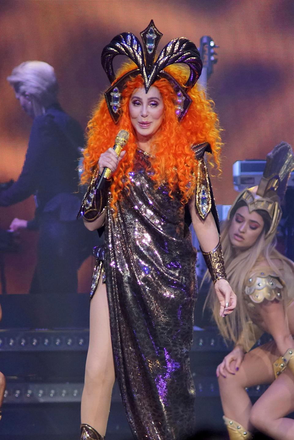 """Cher performs during the """"Here We Go Again"""" tour at the Fiserv Forum on May 12, 2019, in Milwaukee."""