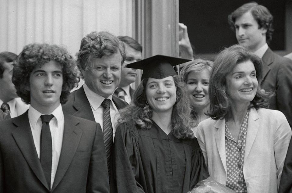 <p>Caroline Kennedy graduated from Radcliffe at a joint session during Harvard University's 329th Commencement. The family was there to offer congratulations. Left to right are John Jr., Senator Edward Kennedy, Caroline and her mother Jacqueline.</p>
