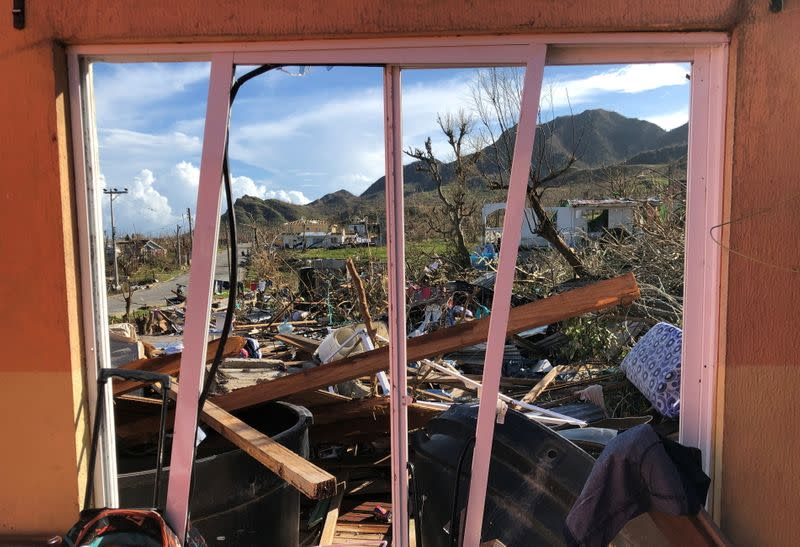 A damaged house is seen after the passing of Storm Iota, in Providencia